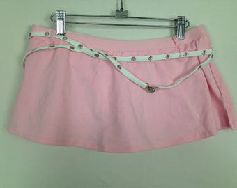 Pink n white hole belt skirt size M