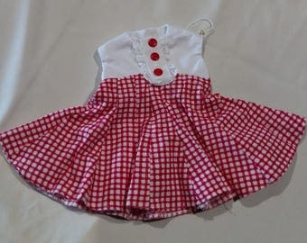 American Girl Doll Clothes, White and Red Flared Dress