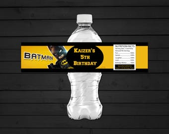 Personalized Lego Batman Water Bottle Label Printable Birthday Party Yellow Black Printable DIY - Digital File