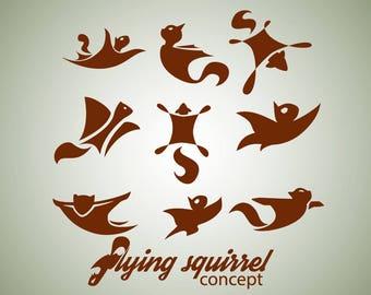 Instant download flying squirrel design concept set