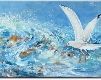 Seagull... seascape bird animal original painting, nature art | wedding birthday gift | ready to hang 'home sweet home' or as a welcome gift