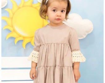 Girl dress,summer dress,decorated sleeves dress,dress&headband,kids clothes