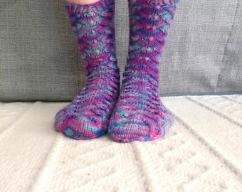 Hand knit women's colorful socks