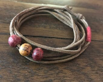 Leather Wrap Beaded Bracelet.