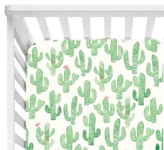 Cactus Baby Bedding//Crib Sheet//Cactus Print Crib Sheet
