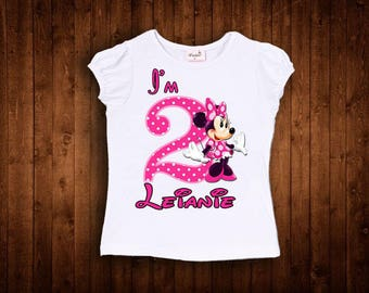 insipred by hot pink bow minnie standing mouse birthday shirt