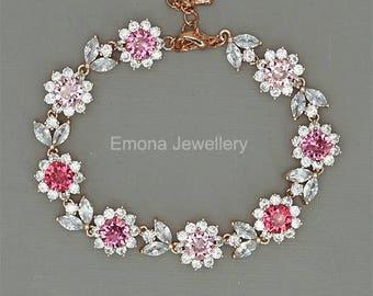Blush Bridal Bracelet Rose Gold Bride Bracelet Pink Crystal Bracelet Swarovski Crystal Pink Wedding Jewelry Pink Bridesmaid Gift