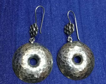 Oxidised Silver Earrings, 925 Silver Earrings, Sterling Silver Earrings, hammered earrings, Tribal earrings, Ethnic earrings