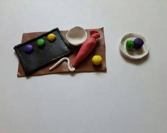 Miniature Polymer Clay Macarons Cooking Scene
