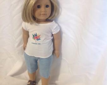 18 inch doll like American Girl & Maplelea Canada 150 capri and tee