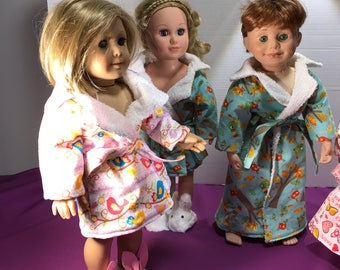 "Bath robe / house coat for 18"" dolls such as American Girl, Maplelea, My Life, ets"