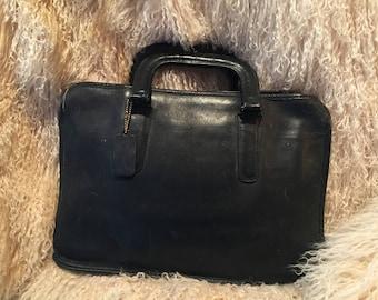 Coach Classic Navy Blue Leather Briefcase Style Handbag