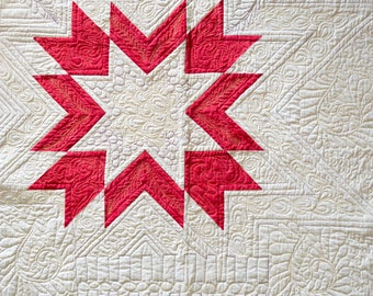 Handmade,red star quilt wall hanging, 36x36,