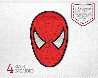 Spiderman Face Embroidery Machine Design - 4 Sizes - INSTANT DOWNLOAD - Applique, Fill Stich Embroidery, Designs