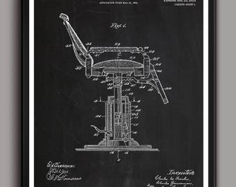 INSTANT DOWNLOAD  Barber's Chair Patent Print Barbers Chair Patent Print, , Barbers Decor, Barbers Prints, , Patent Art