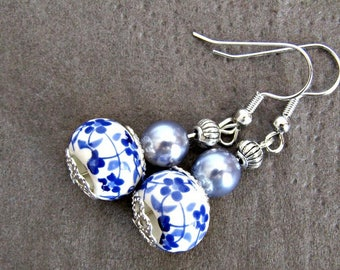 Earrings oriental porcelain beads