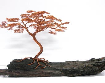 Bronze & copper wire bonsai sculpture handmade