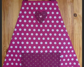 """Apron """"My flowers"""" Burgundy with white polka dots"""