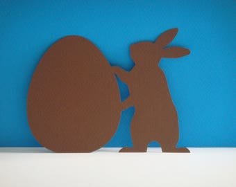 Cut Brown Easter egg and Bunny