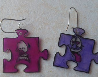 puzzle earrings crazy