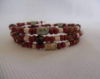 Cuff Bracelet, Brown and cream, on memory wire glass beads.