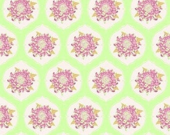COUPON, TILDA mumflower ornament green lilac flowers, patchwork, 480074