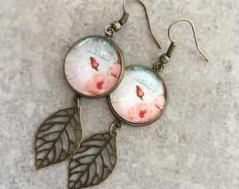 Paris themed glass cabochon earrings