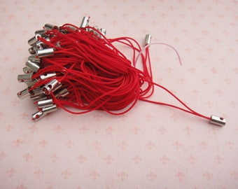 Set of 30 phone strap red color ties