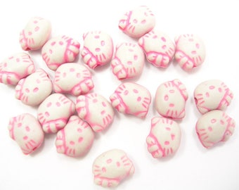 SET of 20 plastic beads: cat pink 9mm