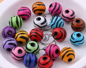 20 round beads multicolor stripes 12 mm