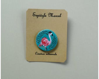Flamingo - porcelain pin - brooch.