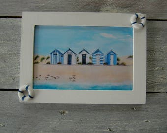 Frame: painting of beach huts