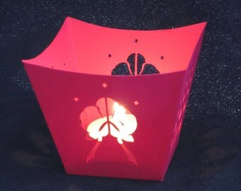 Orchid pink paper candle jar
