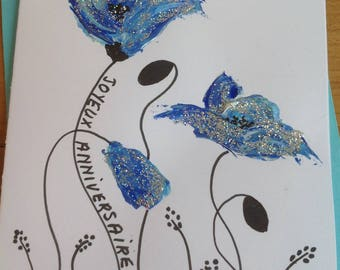 Greeting card hand painted silver glitter blue poppies - birthday card - greeting card - art card