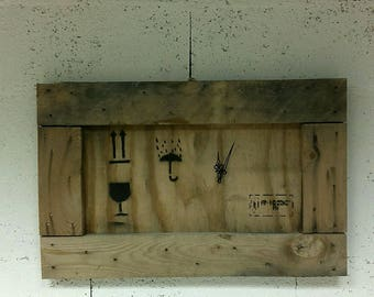 Deco mural drift wood panel: clock