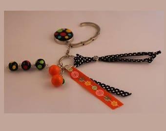 Hanging bag - bag black Orange, multicolor beads jewelry