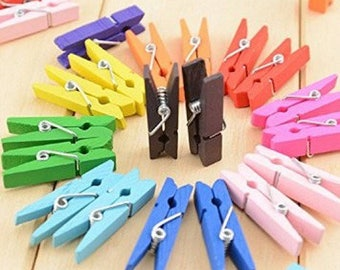 SET of 50 MINI clips A wooden CLOTHESPIN - 35 mm MULTICOLOR new
