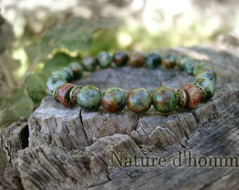 Men's turquoise gemstone bracelet African and Jasper Picasso ref: BN-227