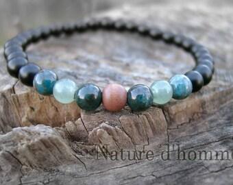 Bracelet rosewood, stones of apatite, jade and onyx Ref: BN-142