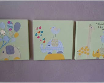 3 canvases for baby's room