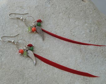Red Pearl feather earrings and pendants