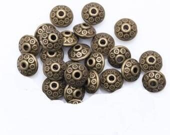 10 metal beads antique bronze 6.5 mm