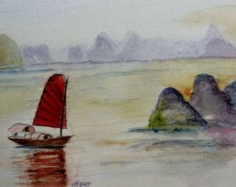 watercolor Bay View d HALONG