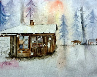 watercolor, the cabin in the forest