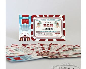 Customize invitation card & envelope included: circus