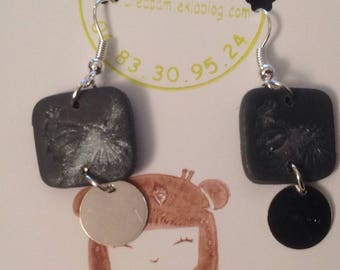 creapam anthracite and silver charm earrings silver metal