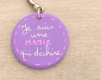 "Purple keychain ""I'm a grandma who..."" CREAPAM polymer clay"