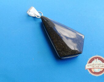 black triangle pendant and silver 22x45mm