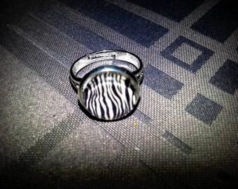 Ring cabochon glass 12mm, black and white Zebra print, Zebra