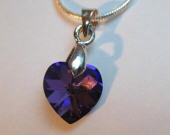 ♥ Lovely ♥ Crystal Heliotrope 10.3 x 10 mm Swarovski Crystal heart pendant